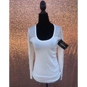 Bebe White Studded Shoulder Top S